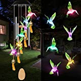 Campanelli Eolici Solare a LED Campanello di Vento Luci Solare Cambia Colore Hanging Campane Tubolari Impermeabile Solar Colibrì per Esterni Cortile Feste Natale Compleanno Decorazione del Giardino