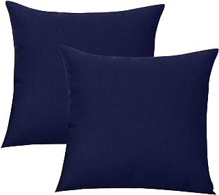 Augld 2PCS Outdoor/Indoor Throw Pillow Cover, Waterproof Solid Pillow Case Navy 18x18