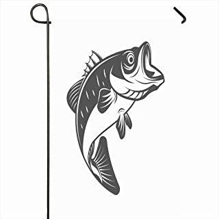 Ahawoso Outdoor Garden Flag 12x18 Inches Wild Silhouette Bass Fish Monochrome Vintage Nature Animals Wildlife Emblem Fisherman Graphic Jumping Seasonal Home Decor Welcome House Yard Banner Sign Flags