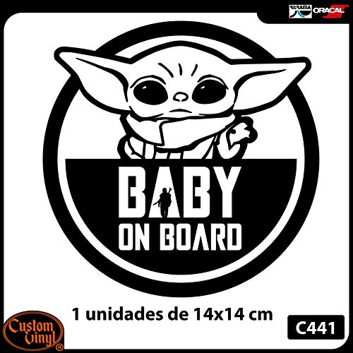 Custom Vinyl Pegatina Bebe a Bordo diseño registrado (Negro)