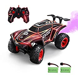 DEERC RC Cars 1/12 Scales Remote Control Car 4WD Off Road Rock Crawler,2.4GHz All Terrain Monster Truck with Rear Fog Stream 5 LED Lighting Modes,2 Battery for 40+ Min Play,Toy Car for Boys and Adults