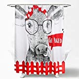 Get Naked Shower Curtain Set with Hooks - Farmhouse Animal Funny Cow Black White Red Backdrop for Bathroom Décor - 72 x72 Inches Waterproof Fabric