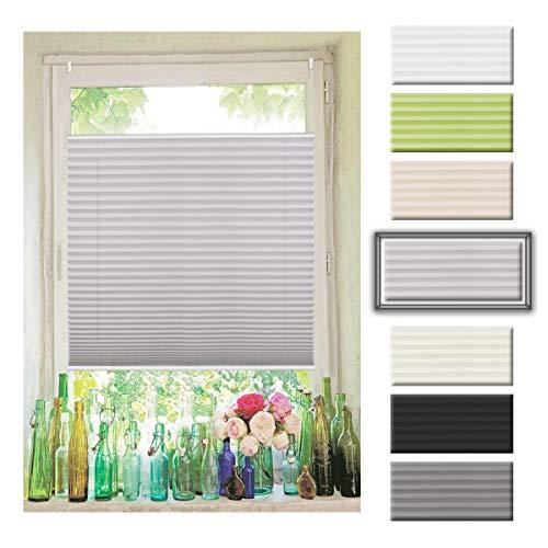 Atlaz Plissee Klemmfix Rollo ohne Bohren Grau 90x120cm (Breite x Höhe) Plisseerollo für Fenster und Tür Faltrollo sichtschutz und Sonnenschutz