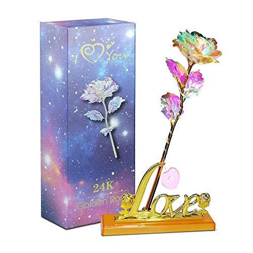 Aokebeey Flores de rosas preservadas con luz y soporte de exhibición Regalo creativo para propuesta de boda,aniversario de compromiso y del día de la madre