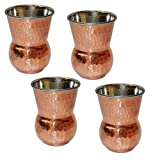 Glass Set of 4 Copper and Stainless Steel Drinkware Accessory Mughalai Tumbler, Capacity 400 ML
