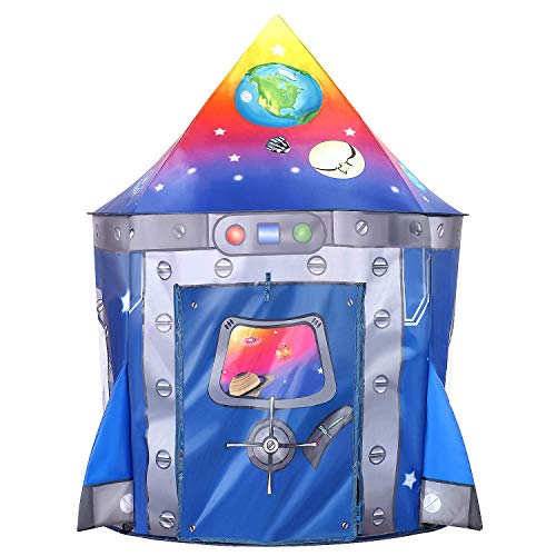Tacobear Kinderspielzelt Junge Rakete Spielzelt für Kinder Pop up Spielzelt Tragbare Faltbare Kinderzelt Spielhaus für dinnen und draußen mit Tragetasche