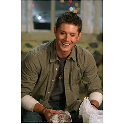 Supernatural Jared Padalecki as Sam Winchester Arms Resting Casually Large Smile Looking Particularly Handsome 8 x 10 Inch Photo