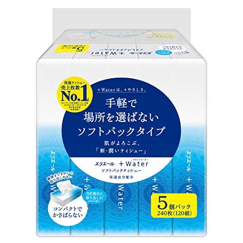 大王製紙 エリエール ティッシュペーパー 120組 +Water ソフトパックティッシュー 1セット(5個×18パック)