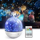 Lámpara Proyector Infantil,Petrichor 360° Rotación Iluminación infantil nocturna, con 6 películas de proyección ,8...