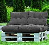 normani Palettenkissen Set Sofa Sitzkissen mit Rückenkissen Outdoor Palettenauflagen (Sitzkissen Gesteppt 120x80) Farbe Anthrazit - 2
