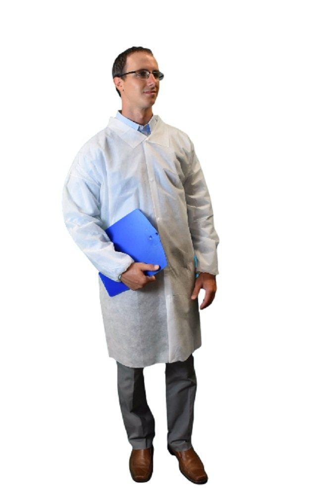 Keystone LC0-WE-NW-HD-LRG-WHITE Heavy Our shop most popular Duty Milwaukee Mall Lab Coa Polypropylene