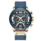 Orologio da uomo militare, cronometro, cronografo, cinturino in pelle, orologio al quarzo, colore...