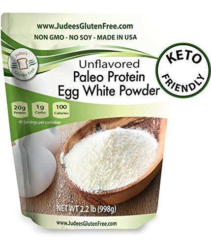 Judee's Egg White Protein Powder (2.2 lbs) Keto, Non GMO, Dairy Free, Soy Free. 20g Protein Per Serving. Smoothies, Baking, Meringue, Royal Icing. Dedicated Gluten & Nut Free Facility, Made in USA