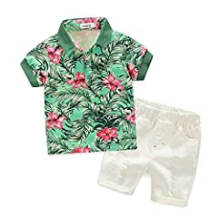 ❤❤Material:cotton. Made of cottoThe baby boy's outfit is made of cotton and polyester, soft and comfortable, breathable and stretched. It is perfect for baby's tender skin in summer. ❤❤Printed shirt collocates with ripped short pants, will make your ...
