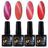 4x Esmaltes Semipermanentes Magnéticos para Uñas, Gel Shellac UV LED para Manicura Pedicura Nail Art, Ojo de Gato 3D, Imán Gratis, 10ML (Rosado, Rojo Naranja, Carmín, Rojo cereza)