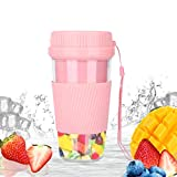 MroTech Personal Blenders for Smoothies Shakes Juice Portable Blender USB Rechargeable Juicer Cup Cordless Fruit Mixer Machine Hand Ice Blender for Office School Home Outdoors Travel Gym Sports-Pink