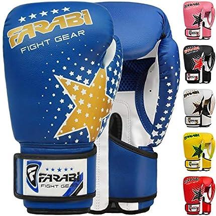 Farabi - guantes de boxeo para niños de 6 oz, guantes de entrenamiento de kickboxing muay thai para entrenamiento de MMA, los mejores guantes para entrenar en saco de boxeo, almohadillas de enfoque para práctica (Blue, 6-oz)