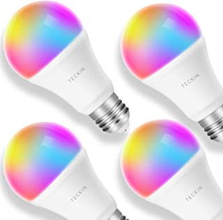 لامپ هوشمند LED E27 فلاش چند لامپ نور لامپ سازگار با الکسا، اکو، صفحه اصلی گوگل و IFTTT (بدون هاب مورد نیاز)، TECKIN A19 60W معادل RGB تغییر رنگ لامپ (7.5W) (4 بسته)