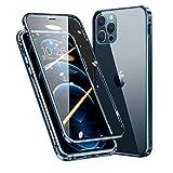 MQman 360°全面保護 前面ガラス+背面ガラス iPhone12 Pro Max ケース アルミバンパー 磁気吸着 マグネット式 強化ガラス バックプレート 透明背面 軽量 ワイヤレス充電 アイフォンクリアカバー (iphone12promax, パシフィックブルー)