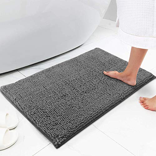 Bath Mat Chenille Bath Rug, Extra Soft and Absorbent Shaggy Bathroom Mat Rugs, Washable, Strong Underside, Plush Carpet Mats for Kids Tub, Shower, and Bath Room (16x24 Inch , Gray)