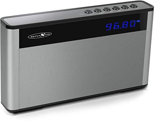 Reflexion SB200 – kompaktes und portables Bluetooth-Radio mit FM-PLL-Tuner (20 Senderspeicher und Play/Pause-Titelwiedergabe, Skip Titel und Lautstärke)