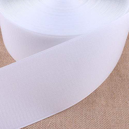 KUQIQI 16/20/25/30/40/50 / 100mm Schwarz White Magic Self Adhesive Haken Klettverschluss Nylon Aufkleber Disks Band Nähen Adhesive NO Kleber 1M (Farbe : 100mm White)