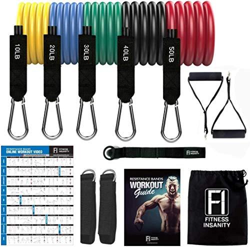 Set Resistance Bands - 5-teiliges Übungs-Bänder - Tragbare Home Gym Zubehör - stapelbar bis zu 150 lbs.- Perfekter Muskelaufbau for Arme, Rücken, Bein, Brust, Bauch, Gesäß (Widerstand-Band-Du