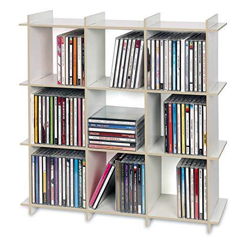 cubix CD-Regal 125' | CD-Regal für bis zu 125 CDs | 55 x 55 x 20 cm | Holz, Weiss | CD-Aufbewahrung...