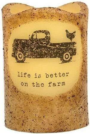 Primitive Cheap mail order shopping Life is Better Farm Pillar Timer Candle 5 ☆ very popular Chicken Truck