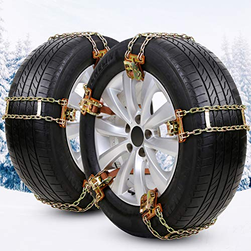 EASE2U E Snow Chains, Tire Chains for Suvs, Cars, Sedan, Family Automobiles,Light Trucks for Ice, Snow,Mud,Sand,for Tire Width 205-275mm/8.07-10.8in(8 Pack)