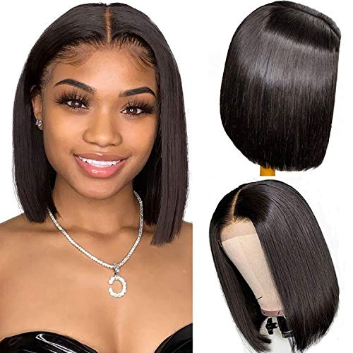 Short Bob Human Hair Wig 150% Density Straight Lace Front Wig Echthaar perücken für schwarze Frauen 4x4 Lace Closure Bob Wig Brazilian Virgin Hair Wig Pre Plucked Hairline Natural Color 12