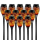 Otdair Solar Torch Lights with Flickering Flame, 12 Pack, 12LED Tiki Torch Solar Lights Outdoor, IP65 Waterproof Mini Solar Torch Light Auto On/Off for Garden, Patio, Yard, Pathway