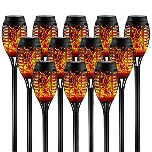 Otdair Solar Torch Lights with Flickering Flame, 12 Pack, 12LED Tiki Torch Solar Lights Outdoor, IP65 Waterproof Mini Solar Torch Light Auto On/Off for Garden, Patio, Yard,