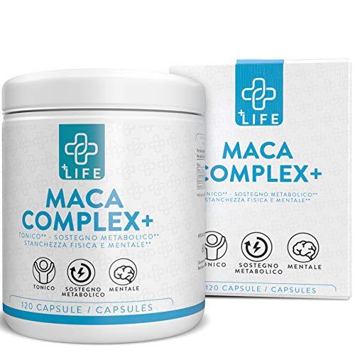 Piulife Maca Complex+  120 Cápsulas  4500 Mg de Raíz de Maca en Dosis como 400 Mg de Concentrado  con Zinc, L-Arginina y Vitaminas B6 y B12  Aumenta la Energía, la Concentración, la Testosterona