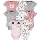 Gerber Baby Girls' 8-Pack Short Sleeve Onesies Bodysuits Toddler T-Shirt Set, Bear Pink, Newborn