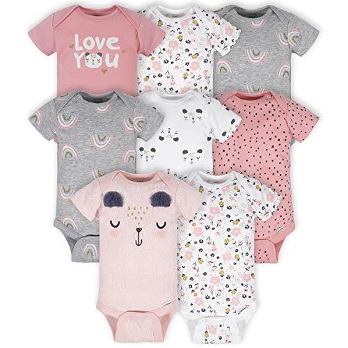 Gerber Baby 8-Pack Short Sleeve Onesies Bodysuits, Bear Pink, 3-6 Months