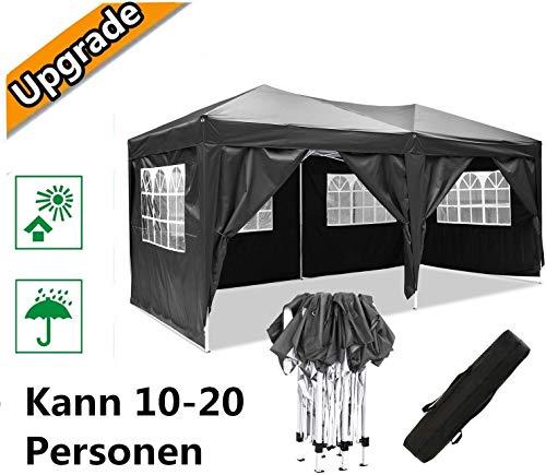 Oppikle Plegable Carpa con Paredes 3x3/3x6m - Impermeable, con Protección Solar, Ideal para Fiestas en el Jardín - Gazebo,Cenador,Pabellón,Tienda Fiestas,Persona 10-20 (3x6m Negro)