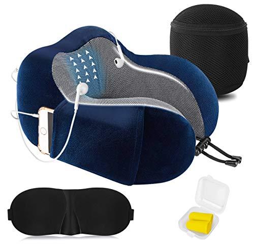 Almohada de Viaje Cervical Viscolástica Ortopédica - Almohada de Cuello,Almohadas de Acampada,Soporte de Cuello,con Máscara de Ojos 3D y Tapones para los oídos,Adecuada para Viajes,Oficina (Azul).
