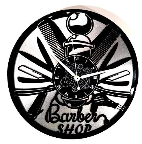 Instant Karma Clocks wandklok van vinyl, dubbel, Instant Karma cadeau-idee Vintage Barba pruik Salon Bellezza Barbiere Barber Shop (zilver), rustig