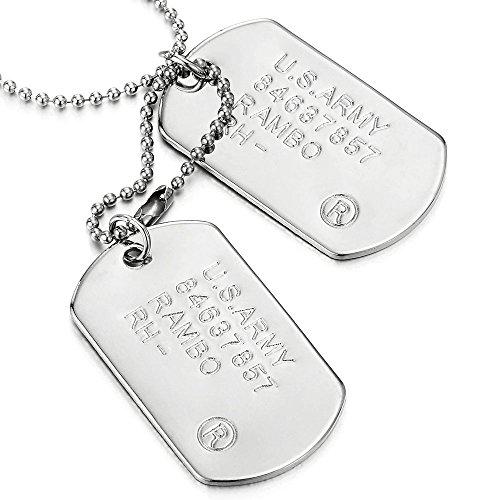 COOLSTEELANDBEYOND Clásico Dos Piezas Militar Ejército Dog Tag, Collar con Colgante de Hombre, Bola Cadena 70CM