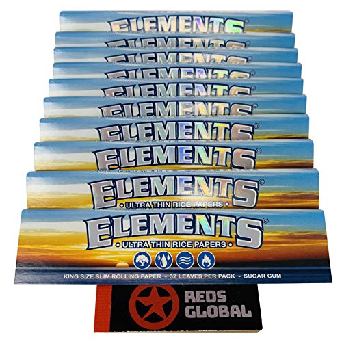 ELEMENTS Reds Exklusiv Reis-Papers KS Slim Ultra Thin - 10 Heftchen mit Reds Filtertips