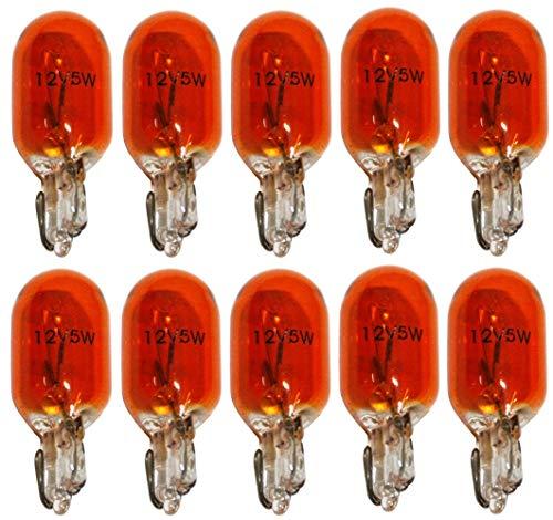 AERZETIX: Juego de 10 bombillas WY5W T10 12V 5W naranja/ámbar para luces de intermitentes de coche C1724