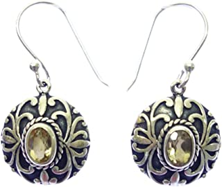 AUTHENTIC BALINESE DROP DANGLE FASHION EARRING IN 925 STERLING SILVER, CITRINE GEMSTONE ETHNIC TRIBAL FILIGREE DESIGNER JEWELRY FOR WOMEN HANDMADE BY ARTISANS