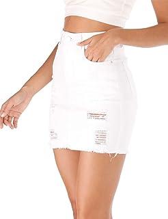 Women's Casual Distressed Fray Hem Ripped A-Line Denim Short Skirt