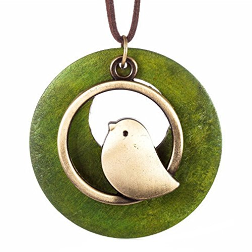 Yinew Bird Wooden Bead Pendant Vintage Long Necklace For Women