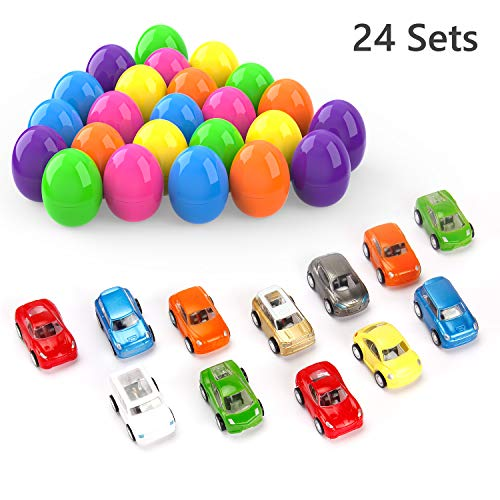 Pull Back Cars, Theefun 24 Pcs Mini Toy Cars Set Birthday Gifts Party Favors Easter Eggs for Kids Boys Girls