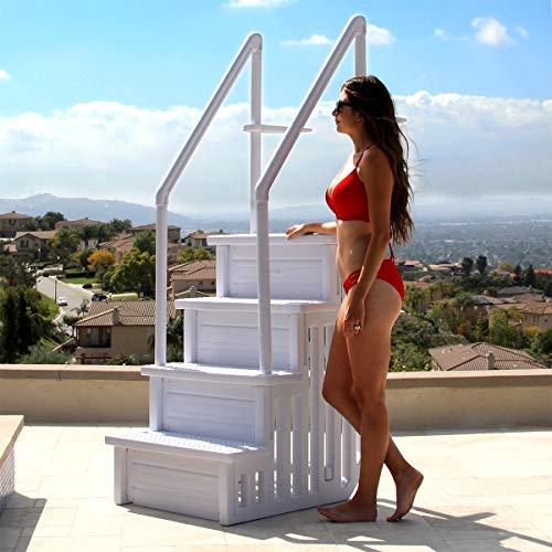 XtremepowerUS 75137-1 Pool Ladder, White