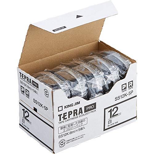 キングジム テープカートリッジ テプラPRO 12mm 5個 SS12K-5P 白