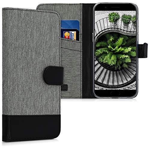 kwmobile Xiaomi Black Shark Hülle - Kunstleder Wallet Case für Xiaomi Black Shark mit Kartenfächern & Stand - Grau Schwarz
