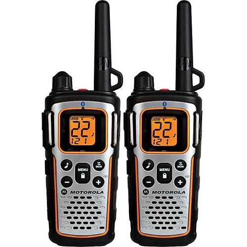 Motorola FRS TalkAbout Two Way Radios, Bluetooth Compatible Radio, NOAA Weather Alert Channels, Weatherproof IP54 Rating, and Total Emergency Preparedness, Silent Vibra Call, iVox Hands Free Communicating, Belt Clips, Y Cable Charging Adapter with Dual Mini-USB Connectors Included